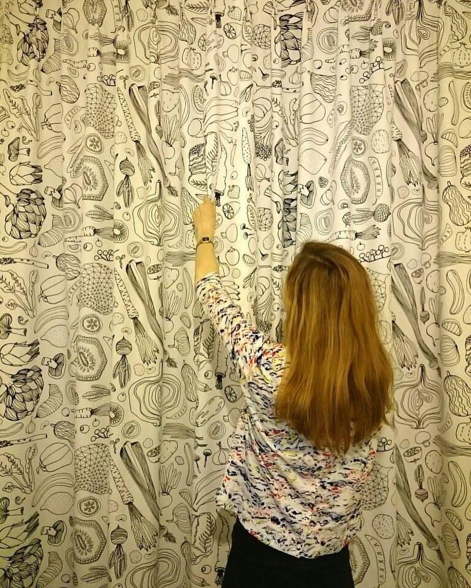 #livraison #curtains #rideaux #courtepointière #textile #legumes #vegetables #ikea #lausanne @sounamie