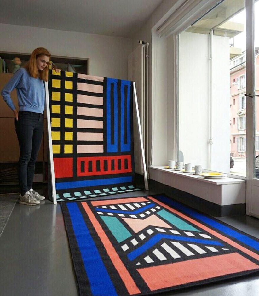🔵⚫️〰⭕️ #nouveauté #atelier #showroom #tapis #carpet #rug #artist @camillewalala @floor_story #tribalpop #colors #graphic #design
