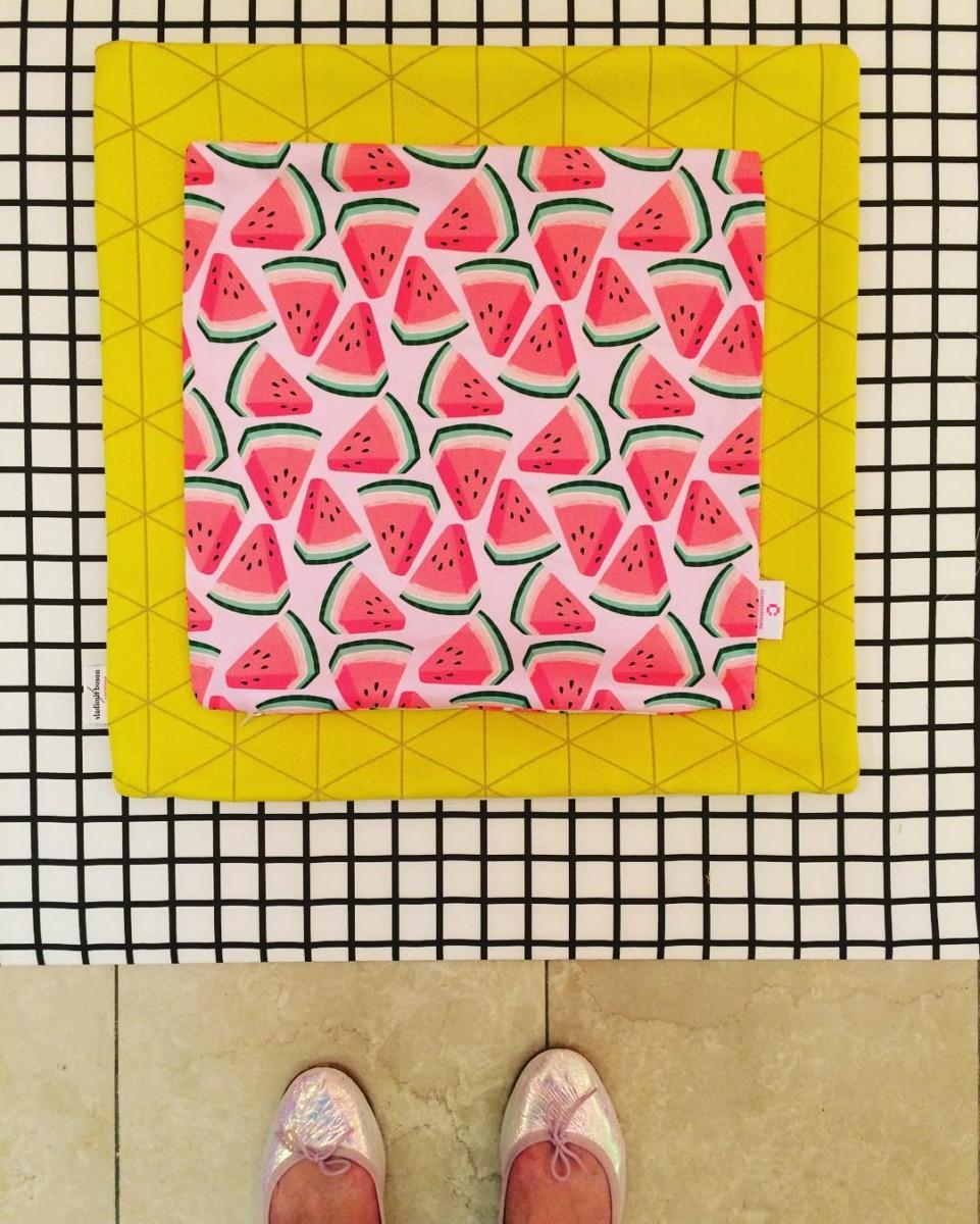 ateliers vladimir boson et claire lavigne ❌ Globus Lausanne  #atelier #coussins #cushions #textile #watermelon #nasse #square #exhibition #madeforyou #globus #lausanne