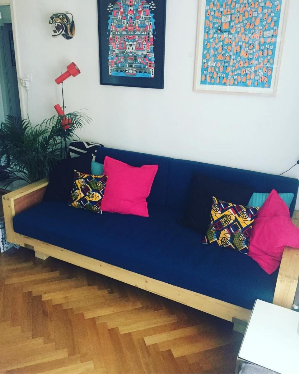 🐅🐅🐅 #atelier #courtepointière #coussins #cushions #canapé #sofa @daviz_prego #textile #lana @lelievreparis #colors #prusse